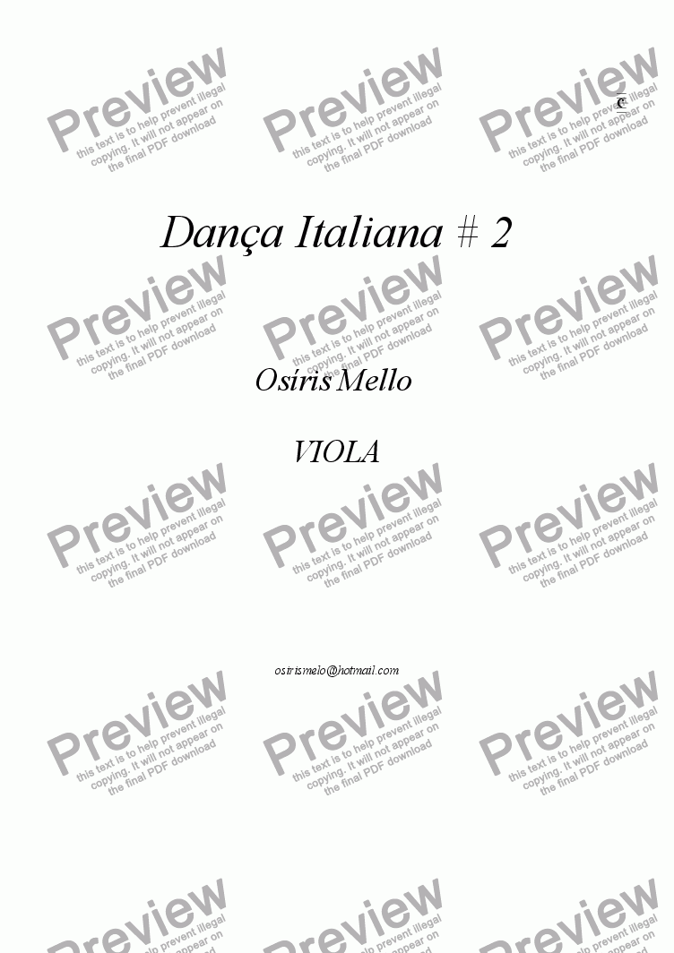 page one of the Viola part from DANÇA ITALIANA # 2