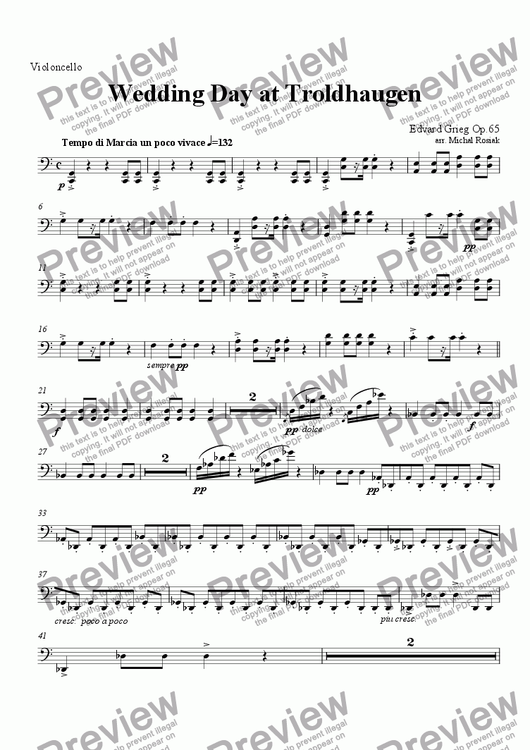 page one of the Violoncello part from Wedding Day at Troldhaugen (complete)