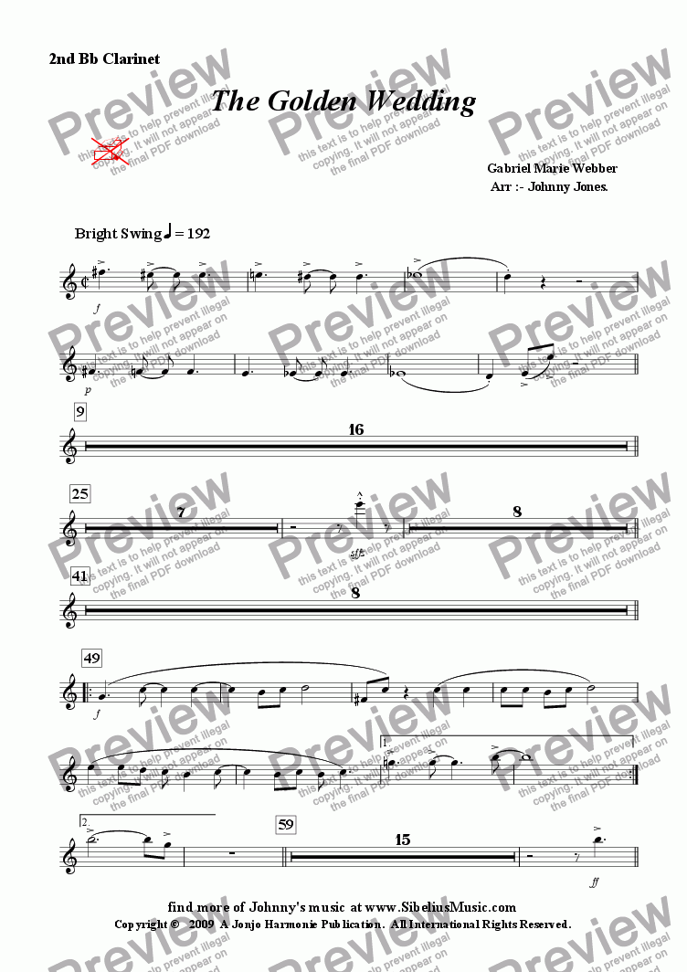 page one of the 2nd Bb Clarinet part from Golden Wedding The   (Concert Windband, Swing Clarinet Solo)