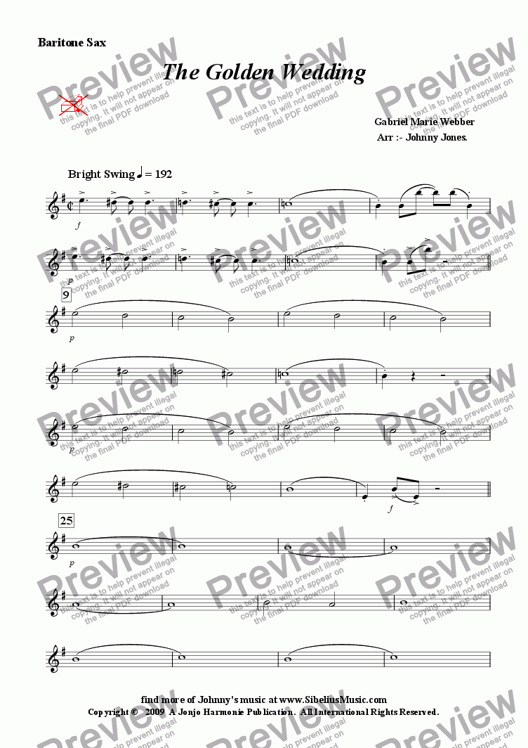 page one of the Baritone Saxophone part from Golden Wedding The   (Concert Windband, Swing Clarinet Solo)
