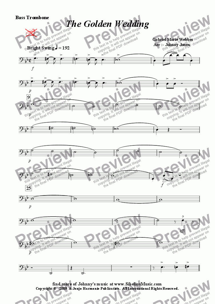 page one of the Bass Trombone part from Golden Wedding The   (Concert Windband, Swing Clarinet Solo)