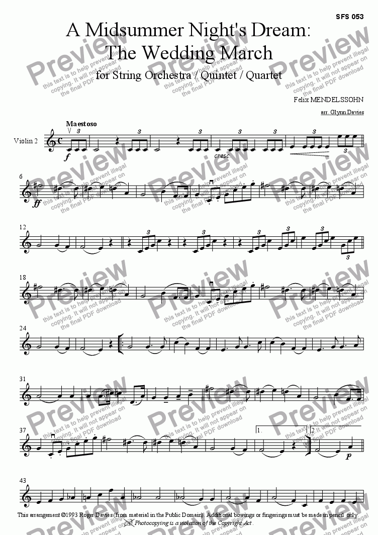 "page one of the Violin 2 part from A Midsummer Night's Dream Op.61 ""The Wedding March"""