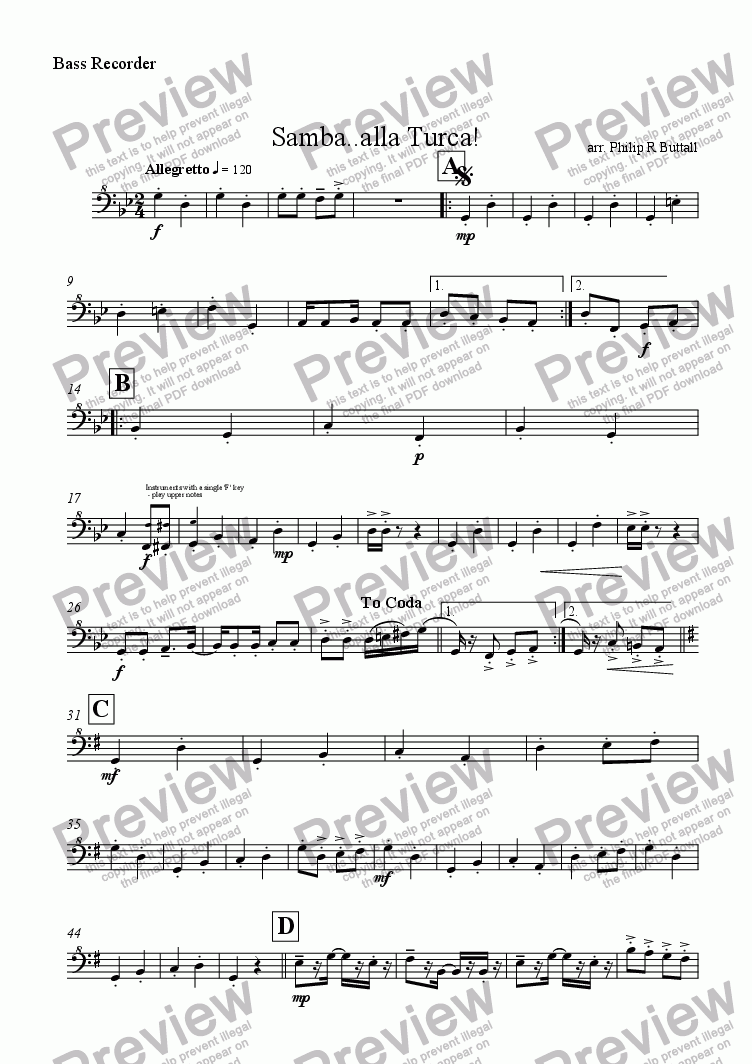 page one of the Bass Recorder part from Samba..alla Turca! (Recorder Quartet)