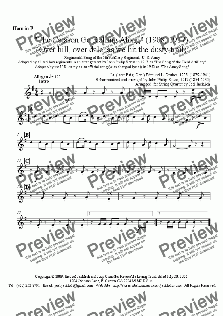 page one of the French Horn in F part from The Caisson Song (Over hill, over dale) (1908, 1917) Brass Quintet