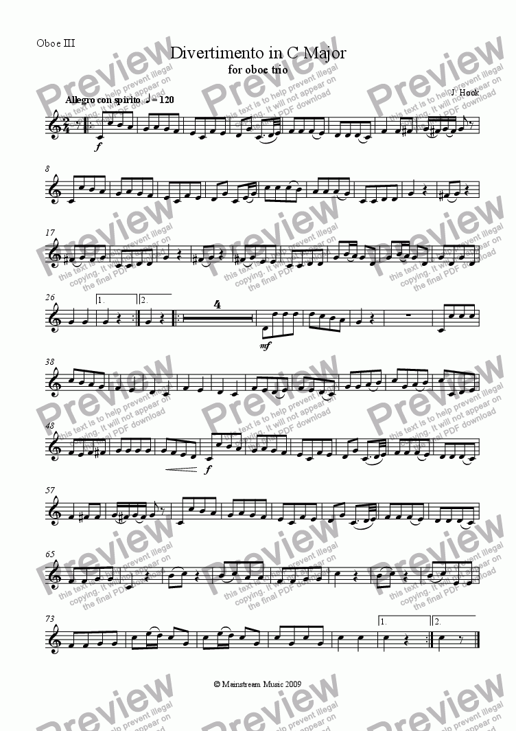 page one of the Oboe III part from Divertimento in C Major - Oboe Trio