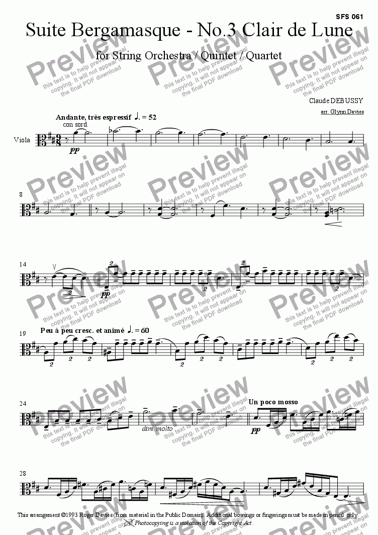 page one of the Viola part from Suite Bergamasque - No.3 Clair de Lune