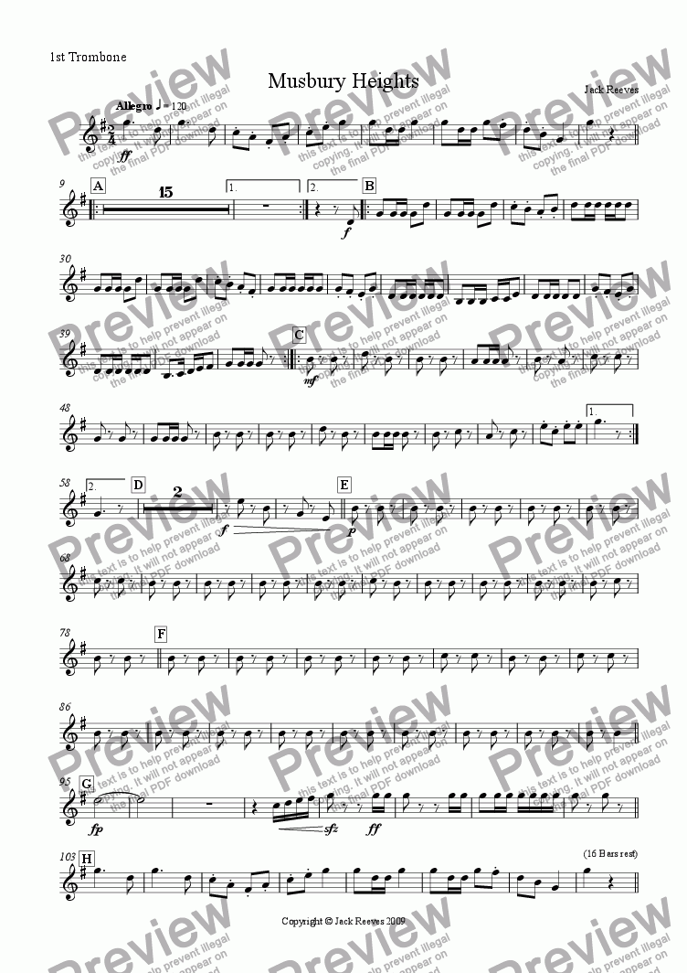 page one of the 1st Trombone part from Musbury Heights