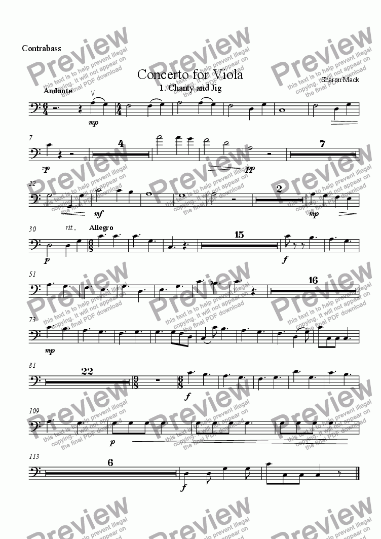 page one of the bass part from Concerto for Viola, 1st movement