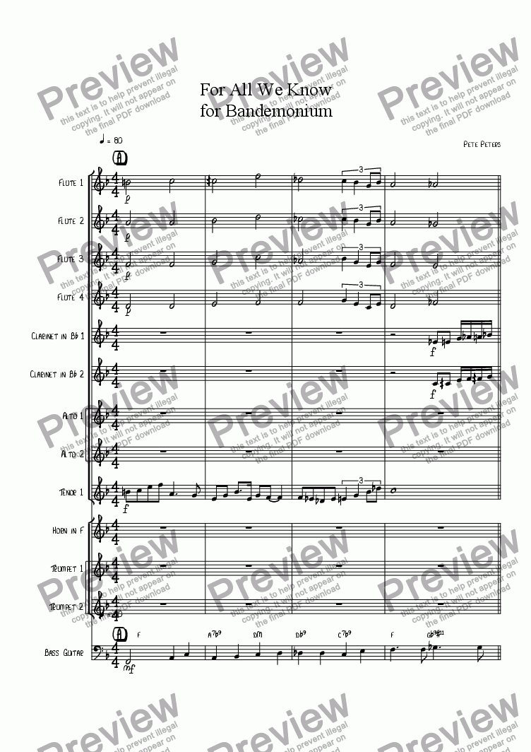 page one of the Flute 4 part from To Each His Own [13 piece Band]