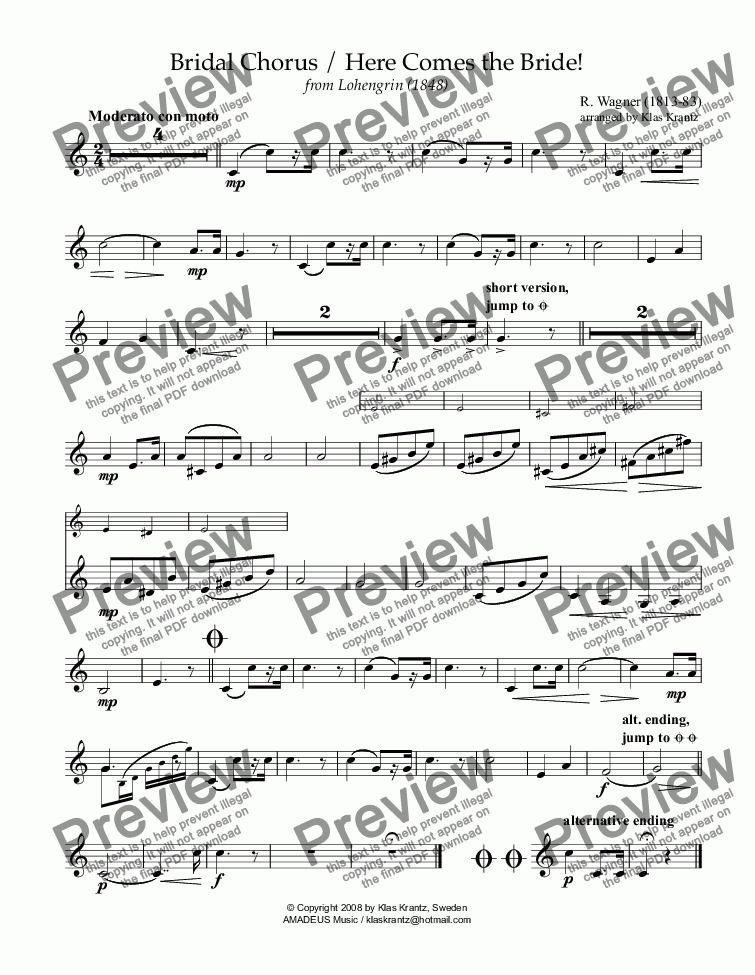 page one of the bass clarinet part from Bridal chorus from Lohengrin - Here comes the bride! for clarinet quartet