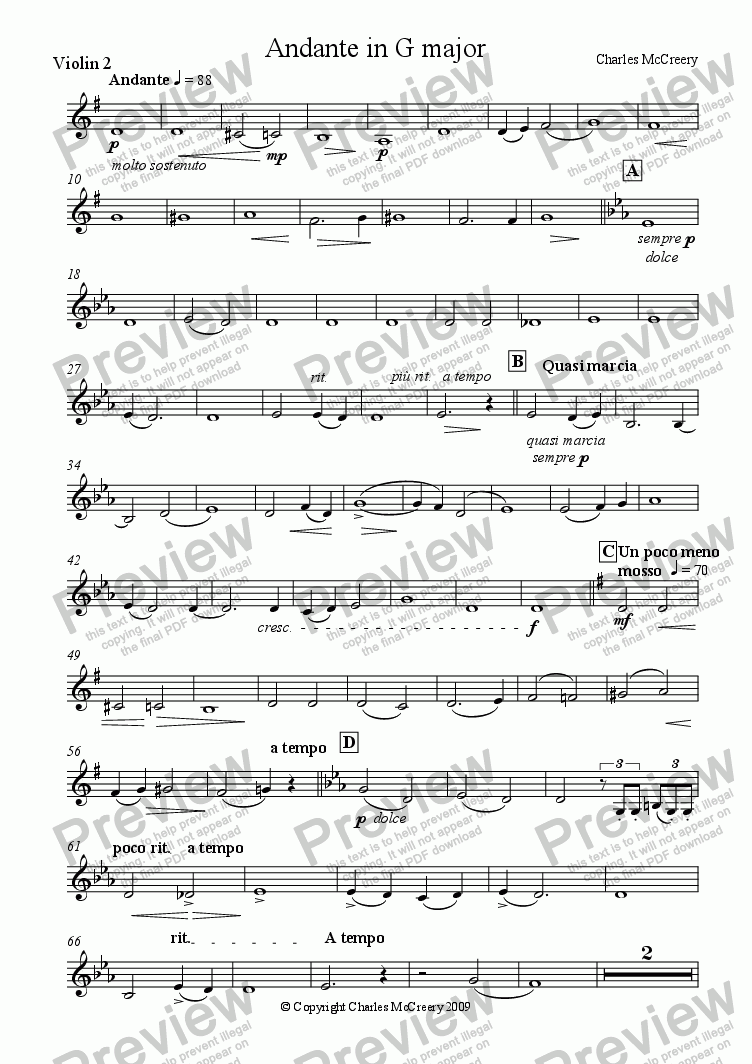 page one of the Violin 2 part from Andante in G for string quintet