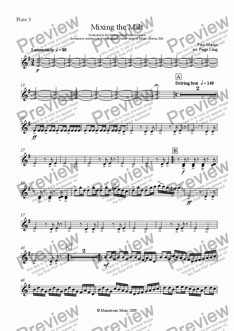 page one of the Flute III part from Mixing the Malt - Flute Ensemble