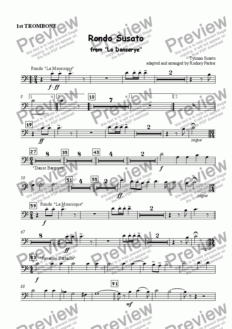 page one of the 1st Trombone part from Rondo Susato for Orchestra