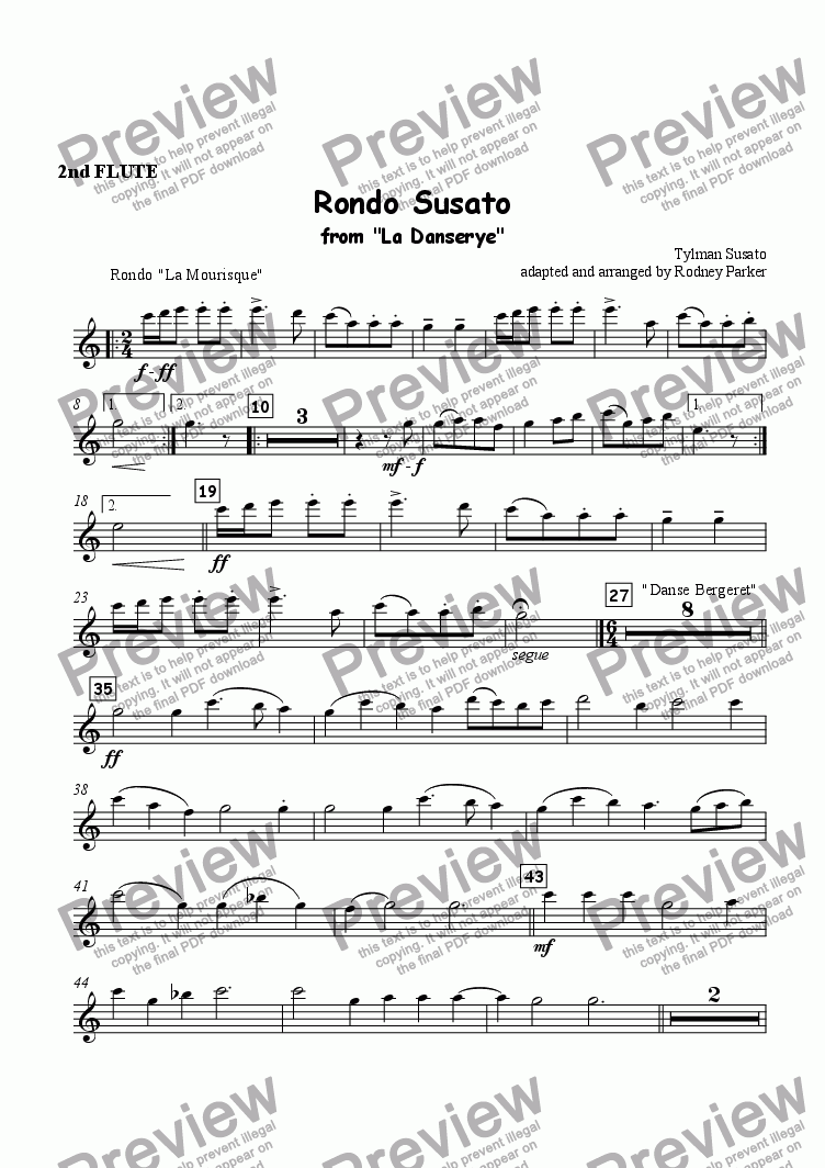 page one of the 2nd Flute part from Rondo Susato for Orchestra