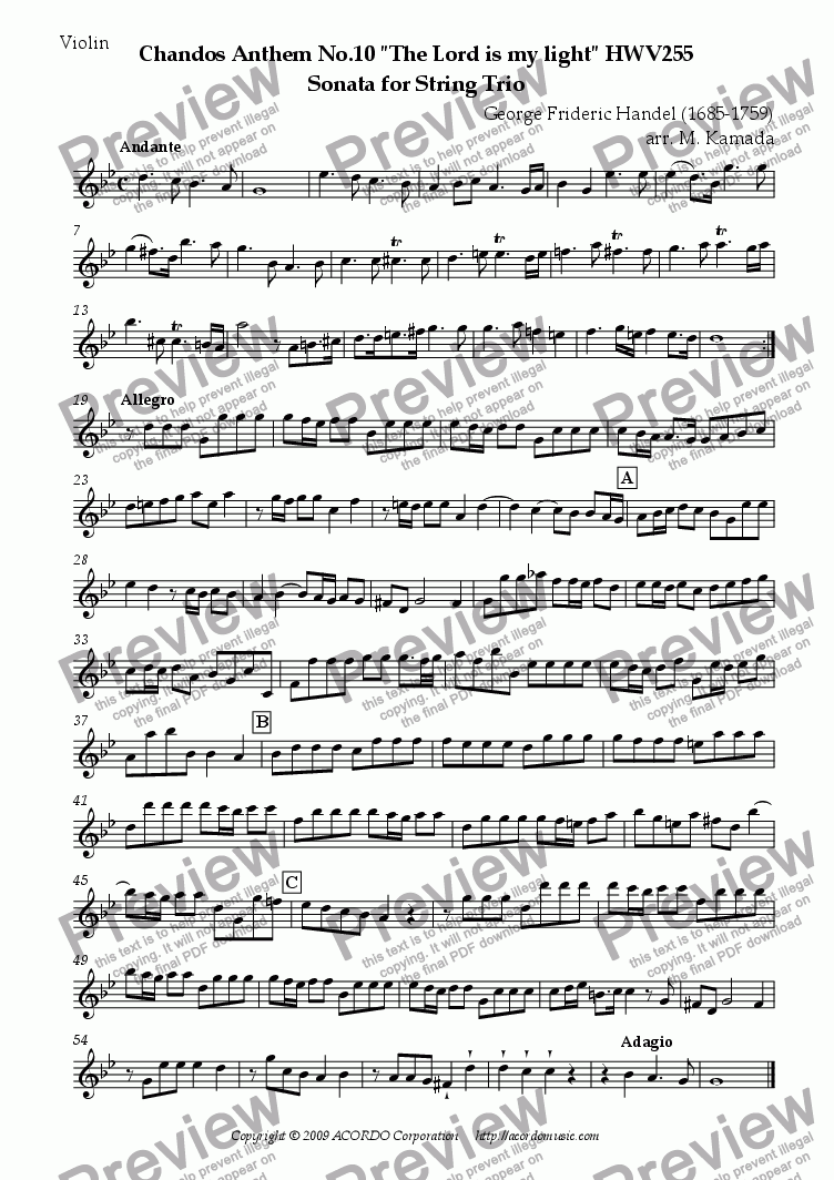 "page one of the Violin part from Chandos Anthem No.10 ""The Lord is my light"" HWV255 Sonata for String Trio"