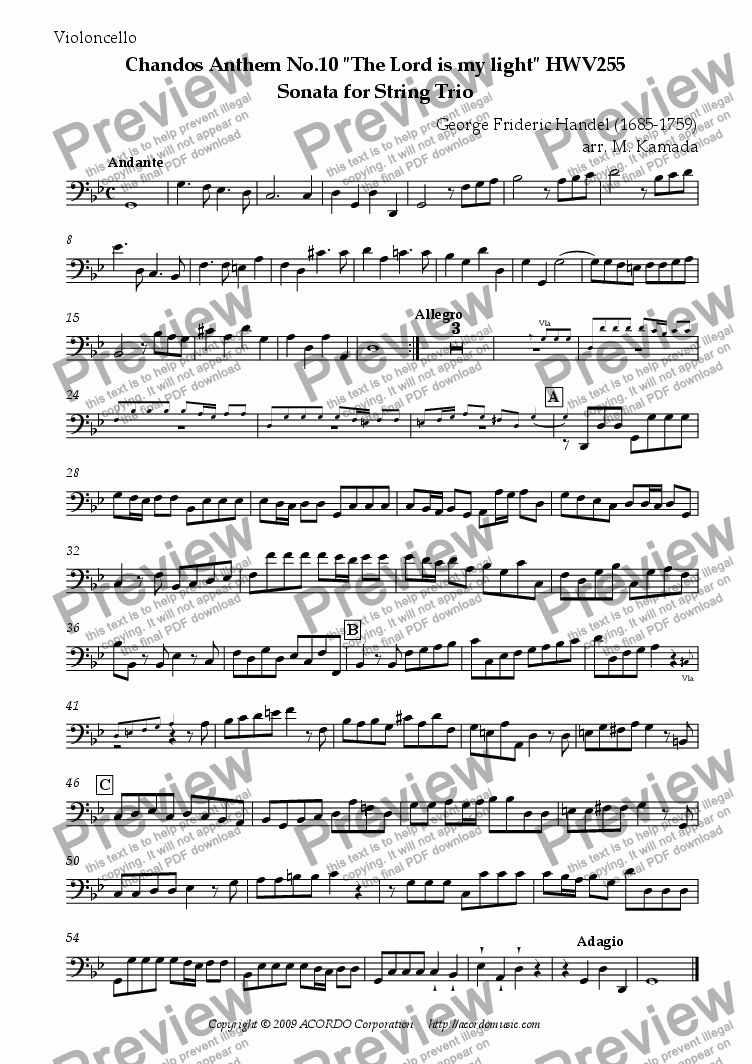 "page one of the Violoncello part from Chandos Anthem No.10 ""The Lord is my light"" HWV255 Sonata for String Trio"
