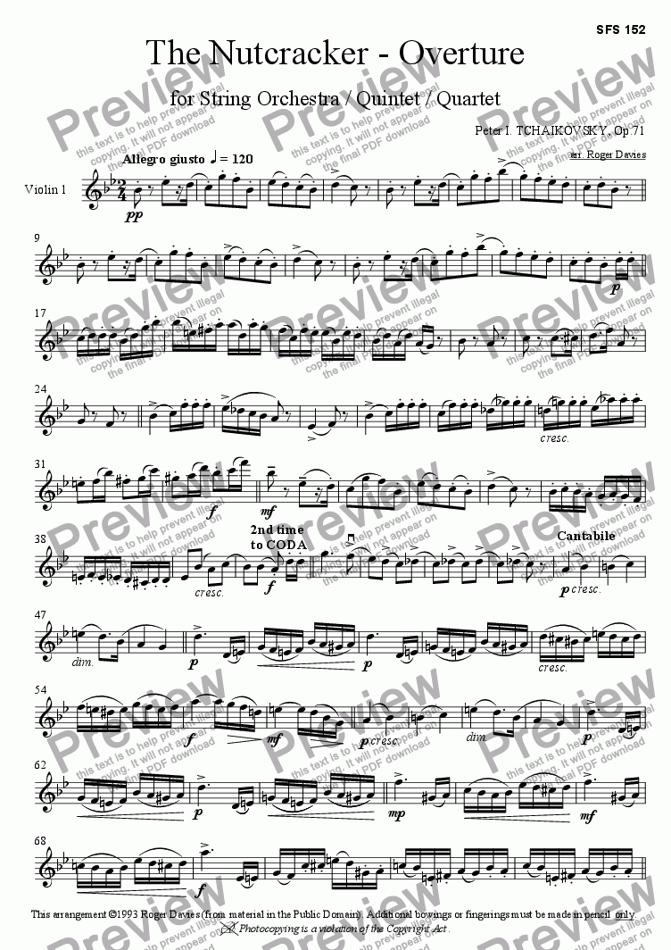 page one of the Violin 1 part from The Nutcracker - Overture