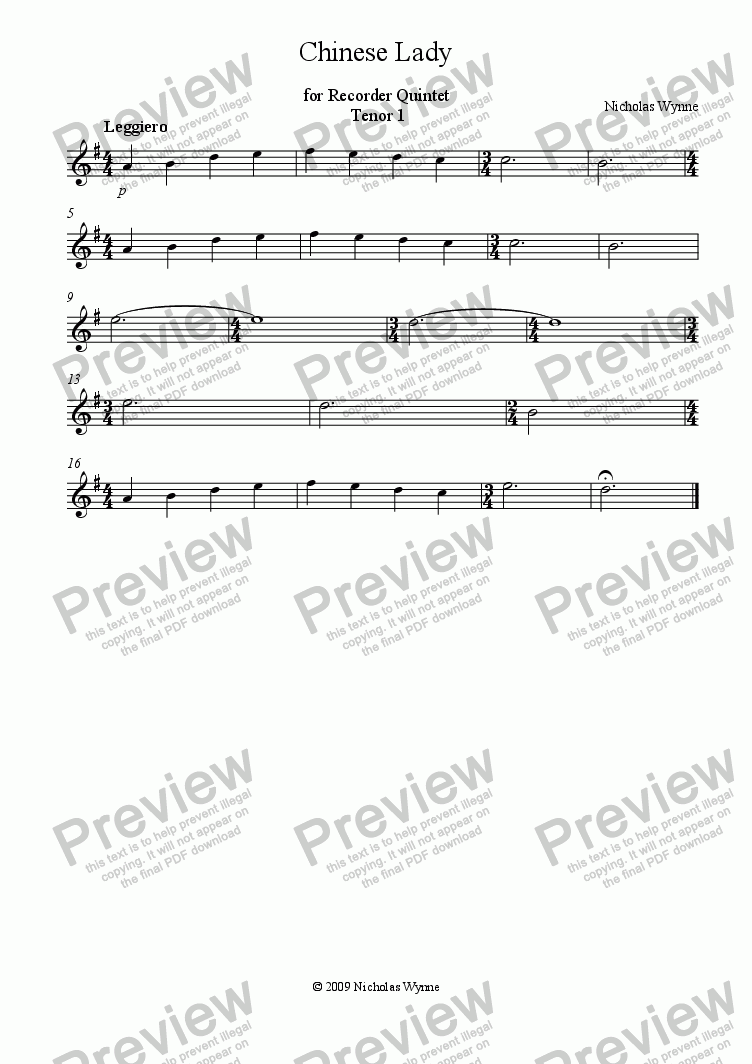 page one of the Tenor1 Recorder part from Chinese Lady for Recorder Quintet