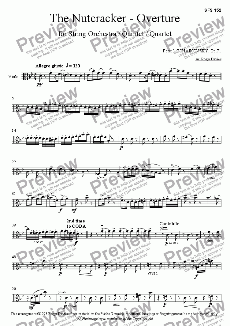 page one of the Viola part from The Nutcracker - Overture
