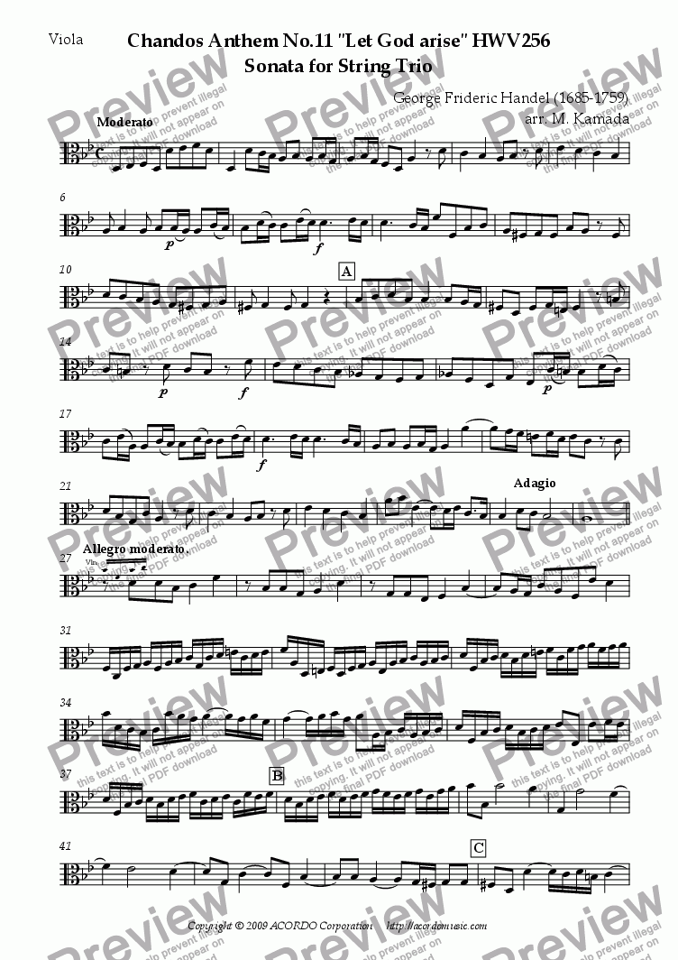 "page one of the Viola part from Chandos Anthem No.11 ""Let God arise"" HWV256 Sonata for String Trio"