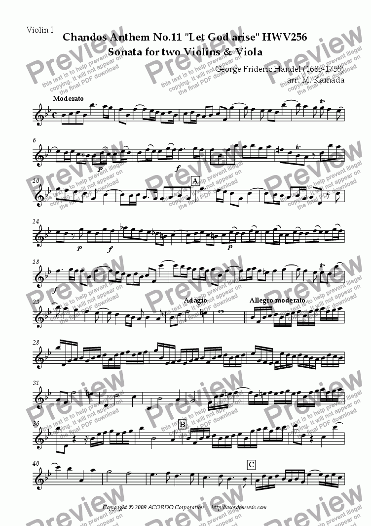 "page one of the Violin I part from Chandos Anthem No.11 ""Let God arise"" HWV256 Sonata for two Violins & Viola"