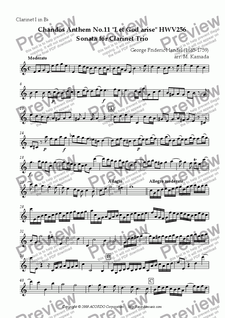 "page one of the Clarinet I in Bb part from Chandos Anthem No.11 ""Let God arise"" HWV256 Sonata for Clarinet Trio"