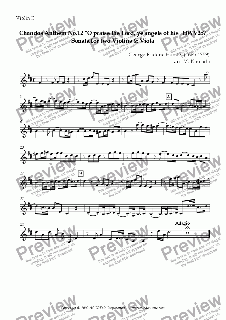 "page one of the Violin II part from Chandos Anthem No.12 ""O praise the Lord, ye angels of his"" HWV257 Sonata for two Violins & Viola"