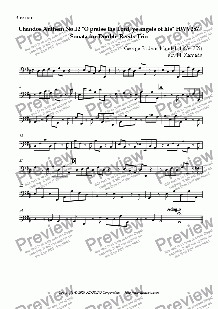"page one of the Bassoon part from Chandos Anthem No.12 ""O praise the Lord, ye angels of his"" HWV257 Sonata for Double-Reeds Trio"