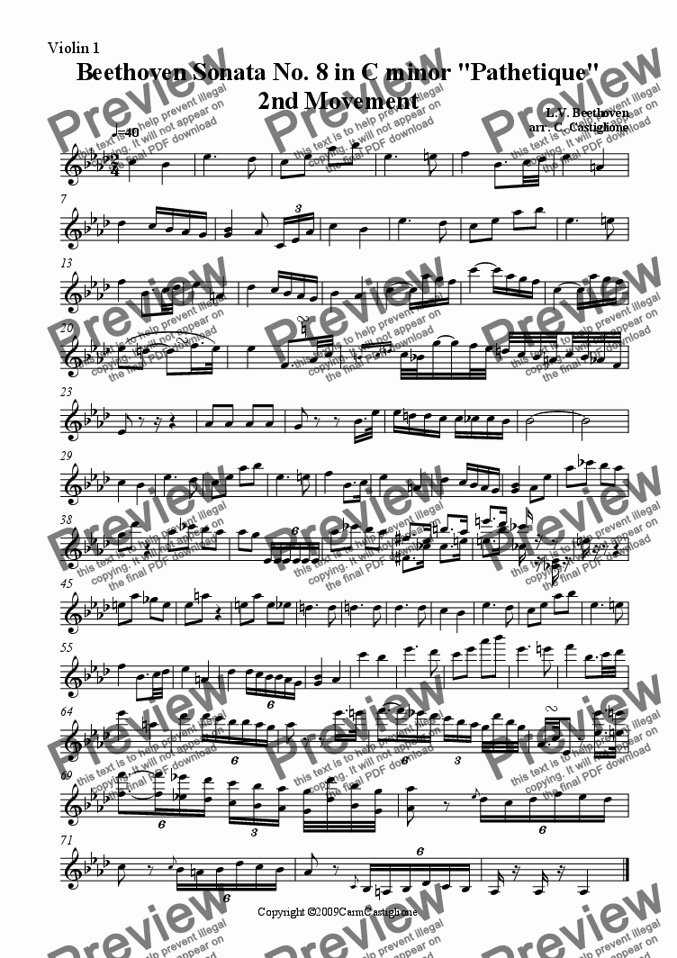 page one of the Violin 1 part from Beethoven Pathetique( for String Quartet)-2nd Movement