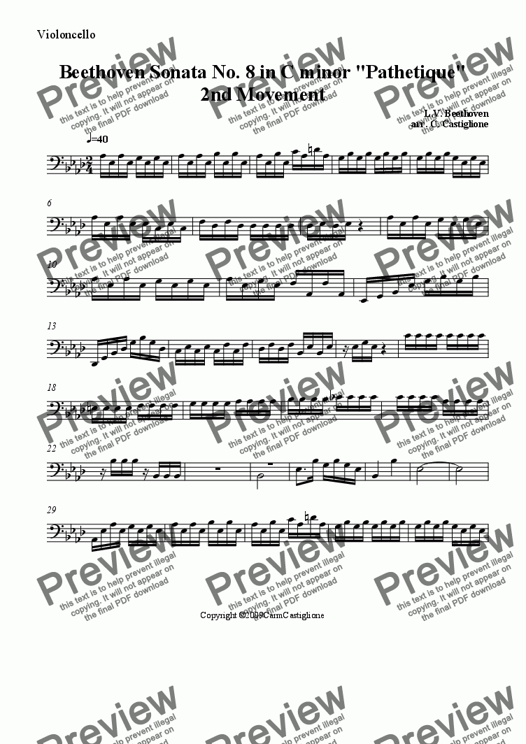 page one of the Cello part from Beethoven Pathetique( for String Quartet)-2nd Movement