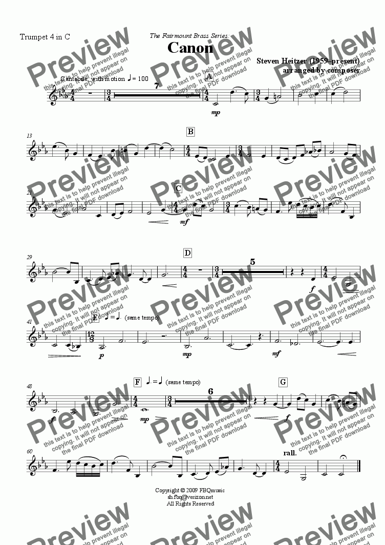 page one of the Trumpet 4 in C part from Canon - Trumpet QUARTET