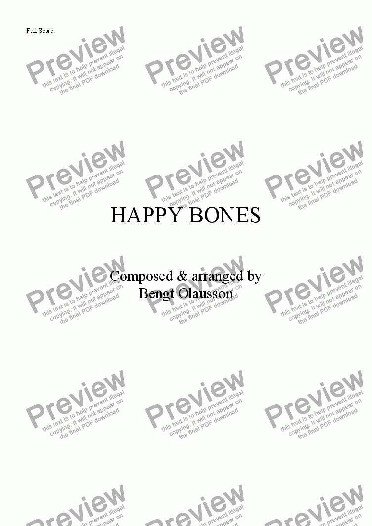 page one of the Bass part from Happy Bones
