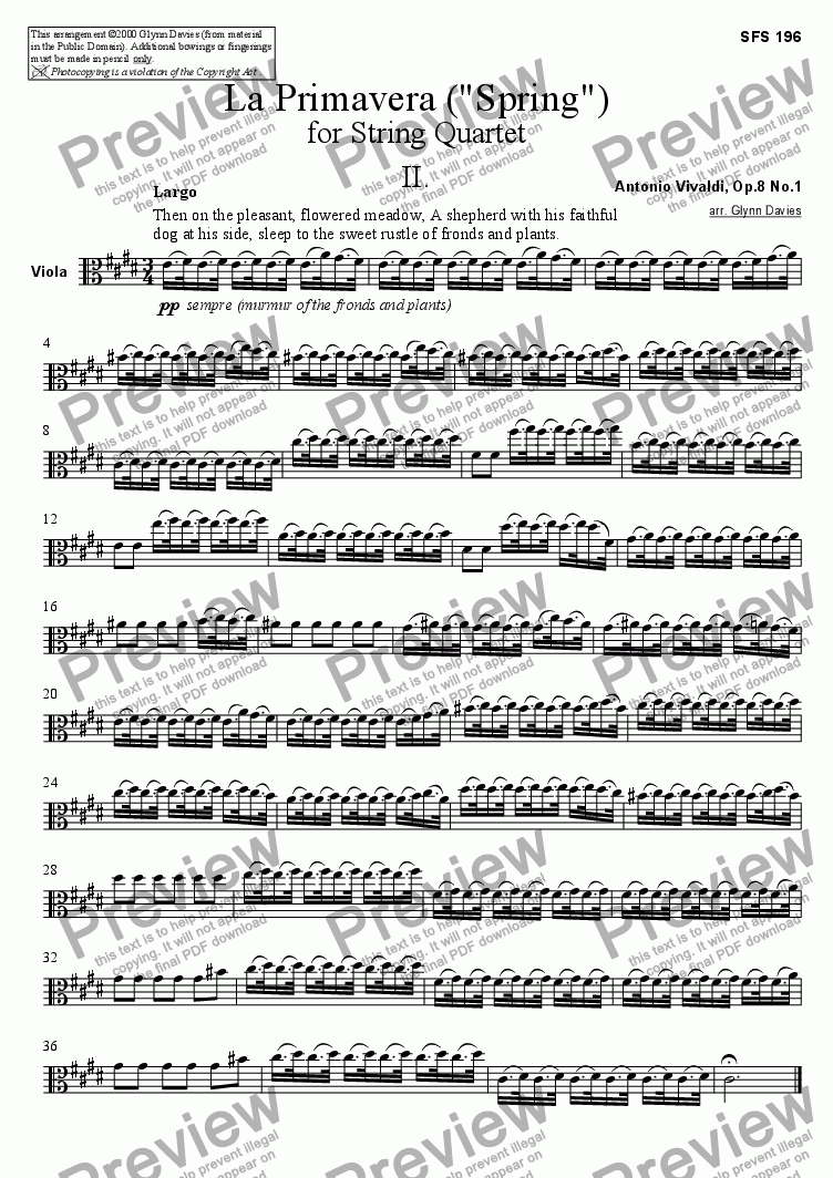 "page one of the Viola part from La Primavera (""Spring"") - 2. Largo"