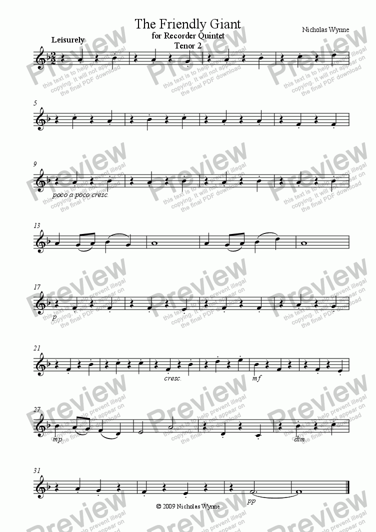 page one of the Tenor 2 Recorder part from The Friendly Giant for Recorder Quintet