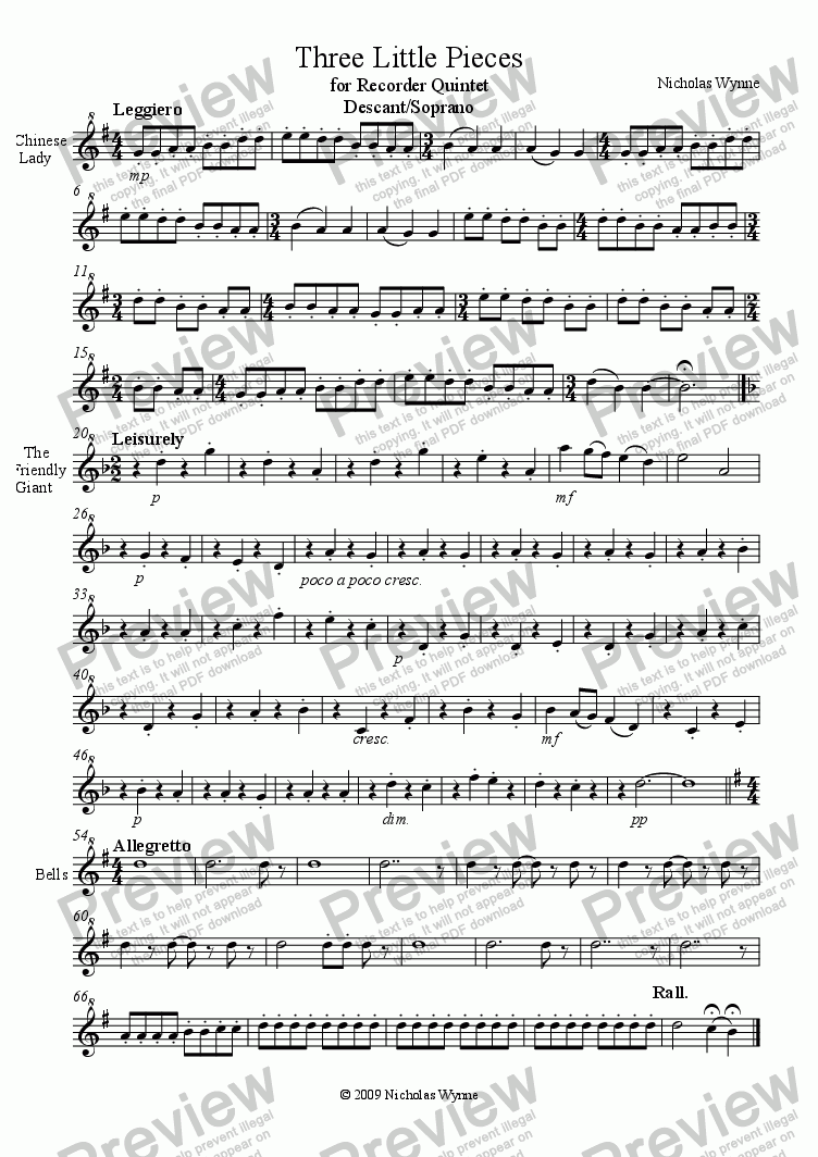 page one of the Descant Recorder part from Three Little Pieces for Recorder Quintet