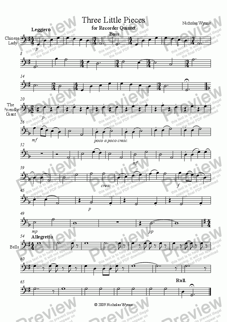 page one of the Bass Recorder part from Three Little Pieces for Recorder Quintet