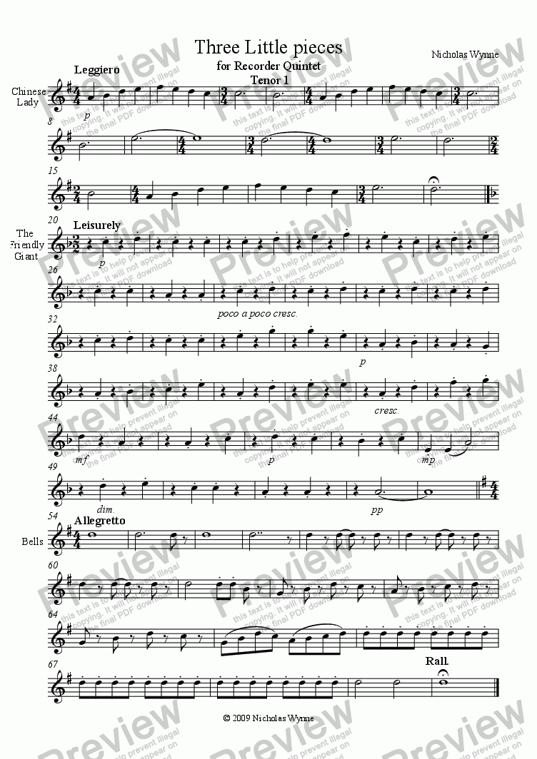 page one of the Tenor 1 Recorder part from Three Little Pieces for Recorder Quintet