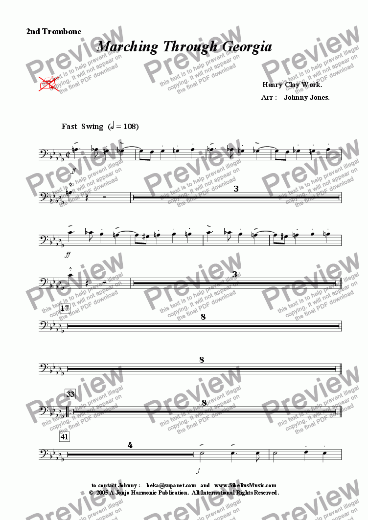 page one of the 2nd Trombone part from Marching Through Georgia   (Big Band, Fast Swing)