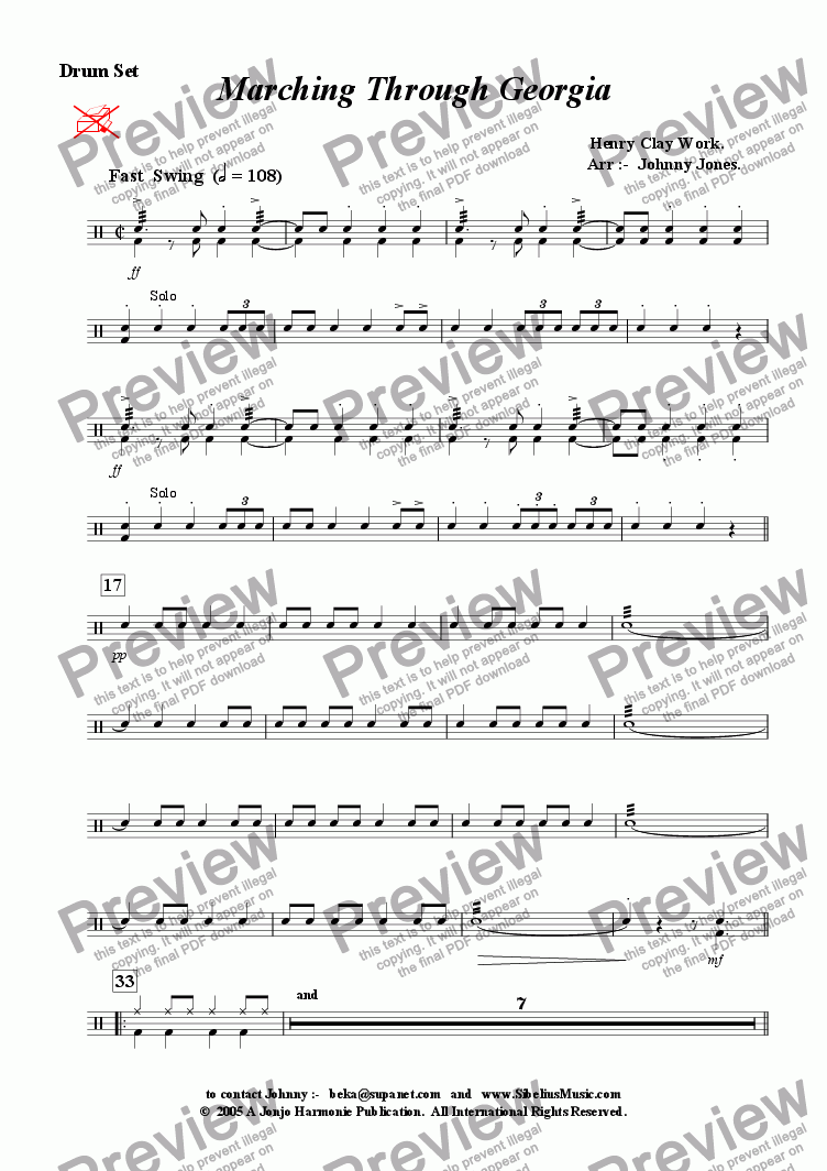 page one of the Drum Set part from Marching Through Georgia   (Big Band, Fast Swing)