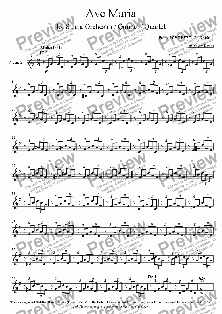 page one of the Violin 2 part from Ave Maria, Op.52 No.6