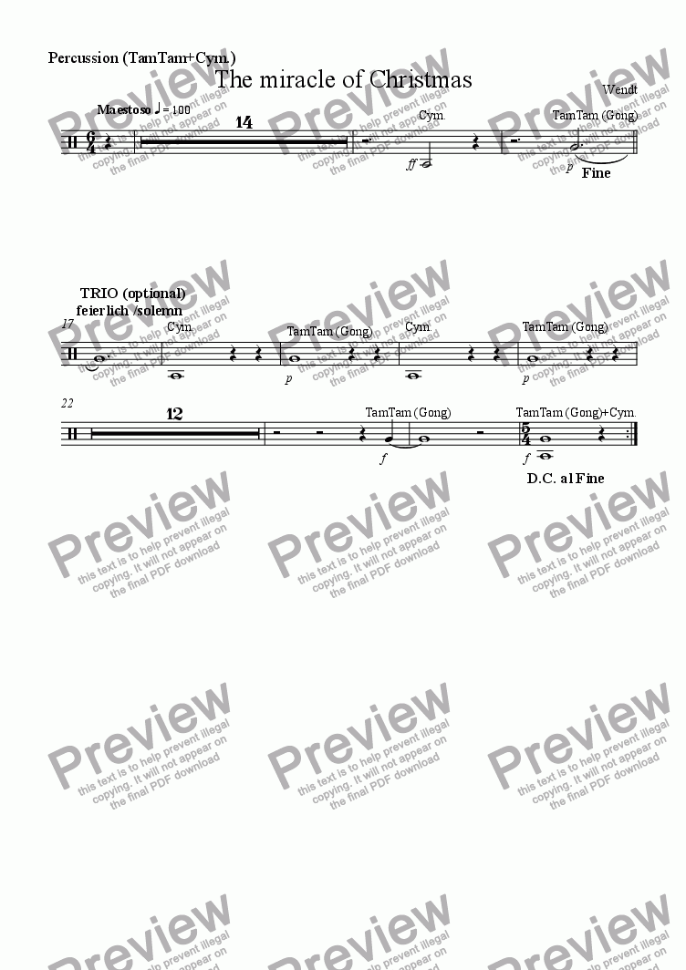 page one of the Percussion part from For Santa Claus goes Youth-Band - extended Version