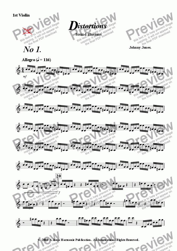 page one of the 1st Violin part from Distortions #1 and #2   (String Quintet)