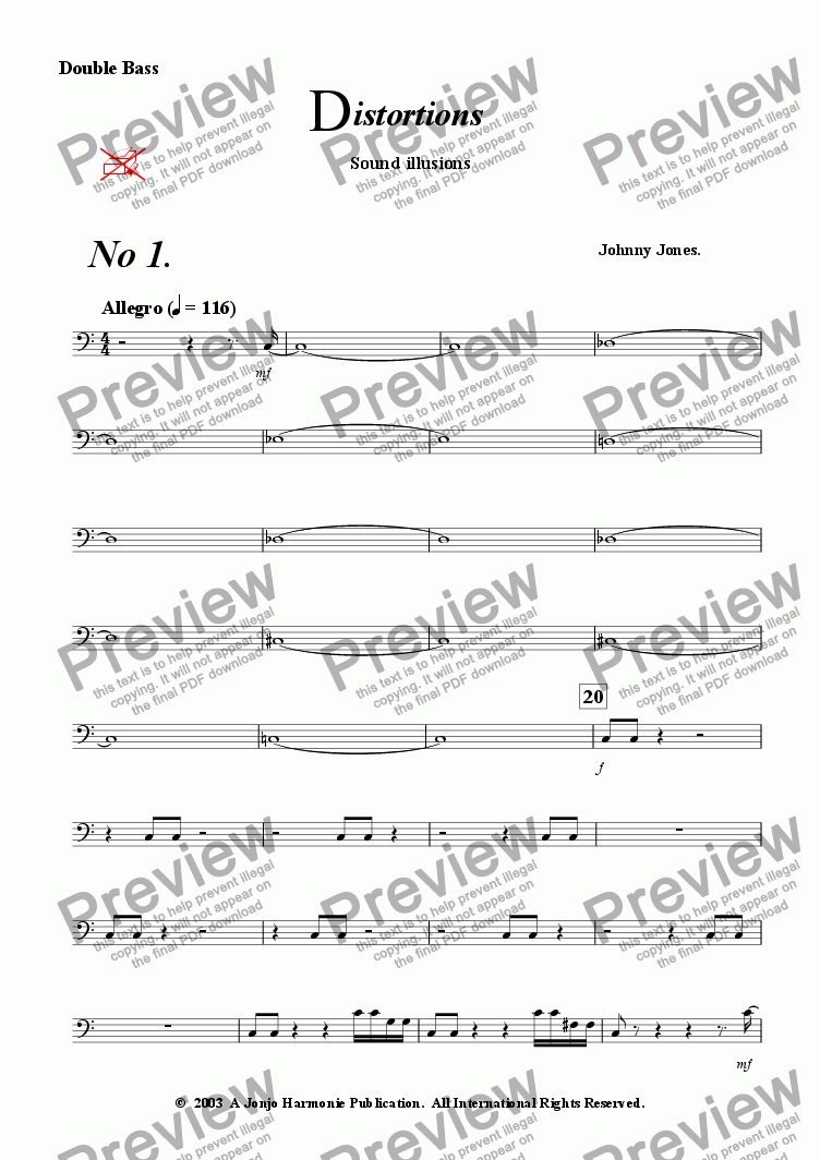 page one of the Double Bass part from Distortions #1 and #2   (String Quintet)