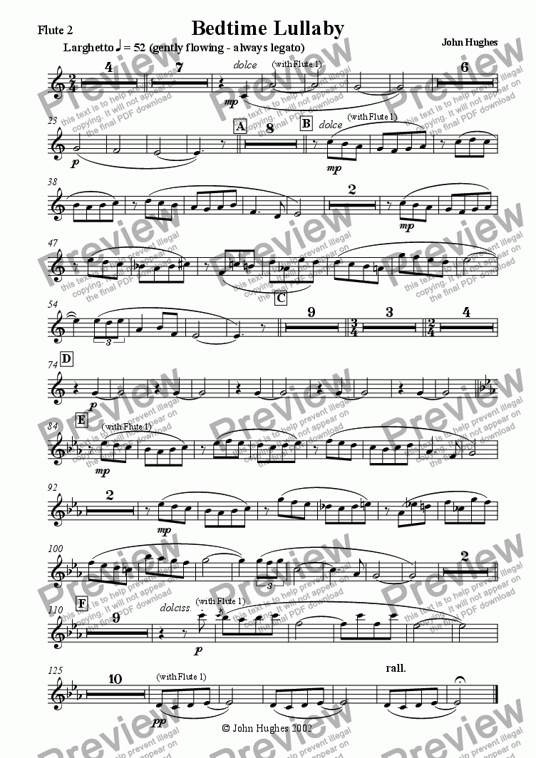 page one of the Flute 2 part from Bedtime Lullaby