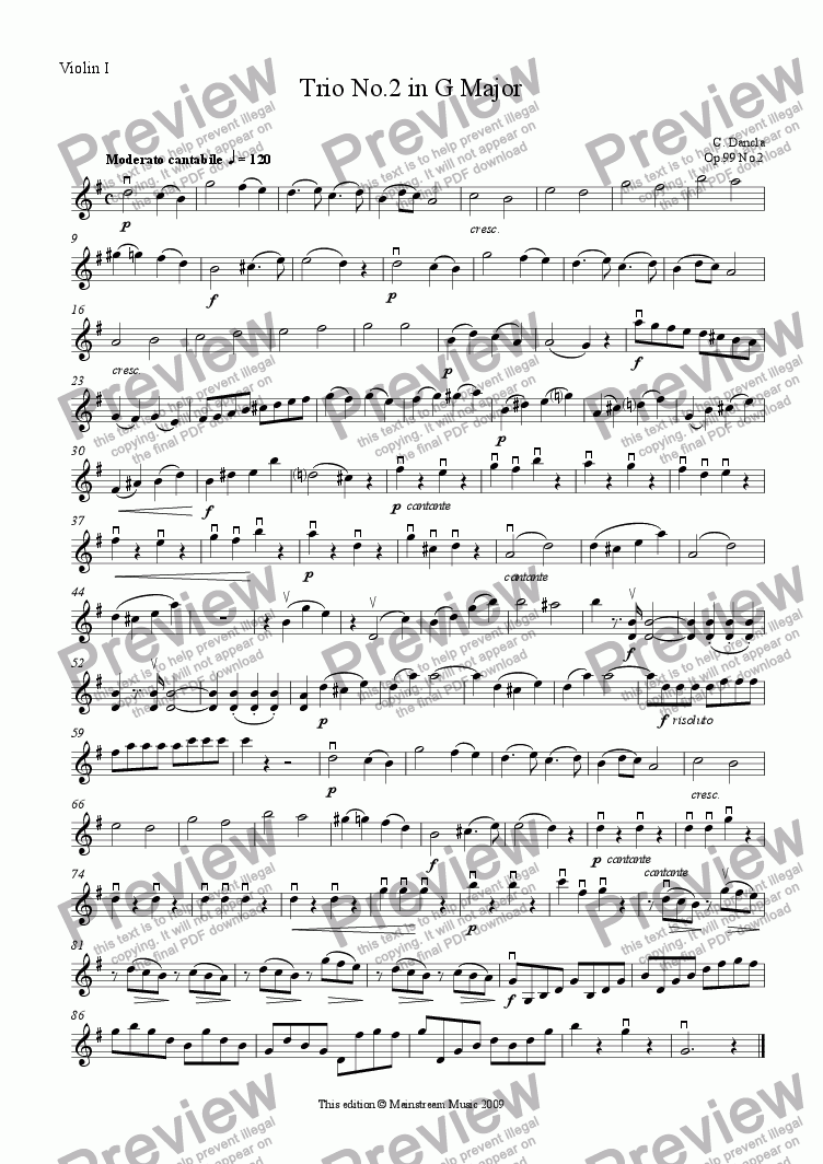 page one of the Violin I part from Trio No.2 in G Major - Violin