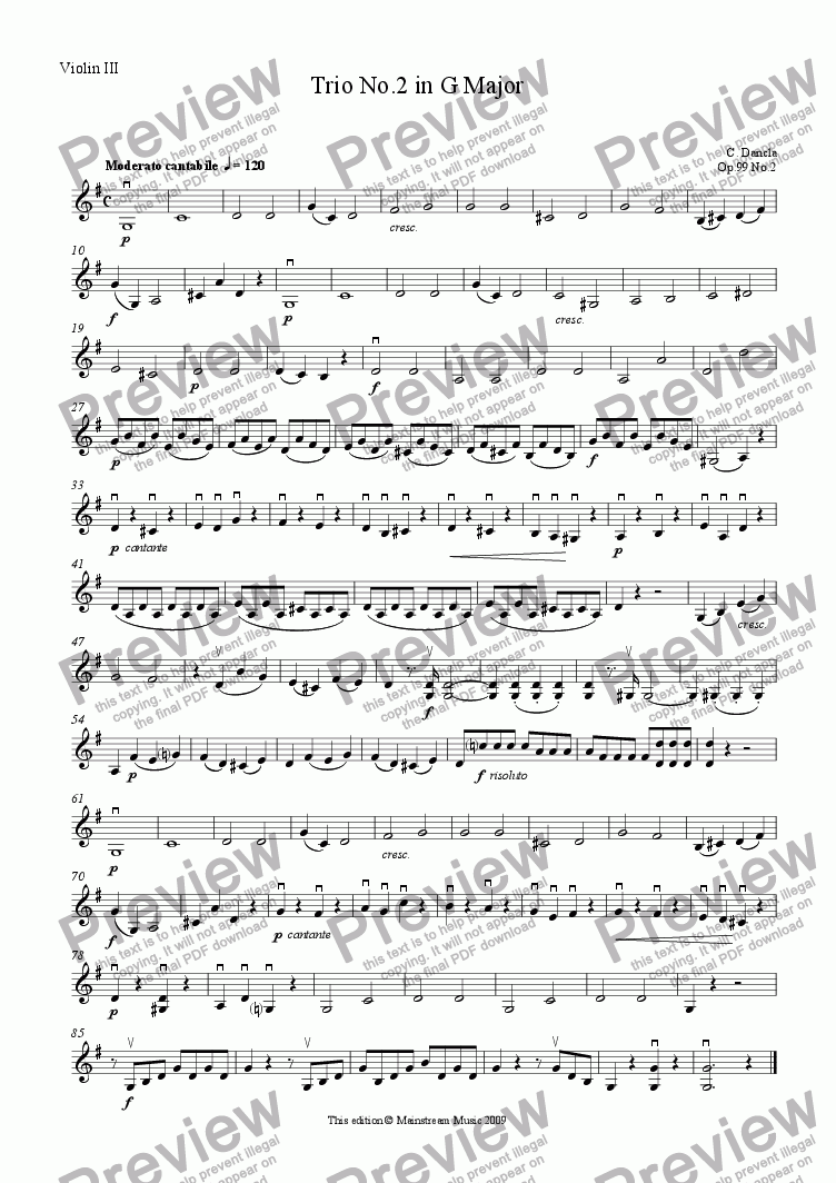page one of the Violin III part from Trio No.2 in G Major - Violin