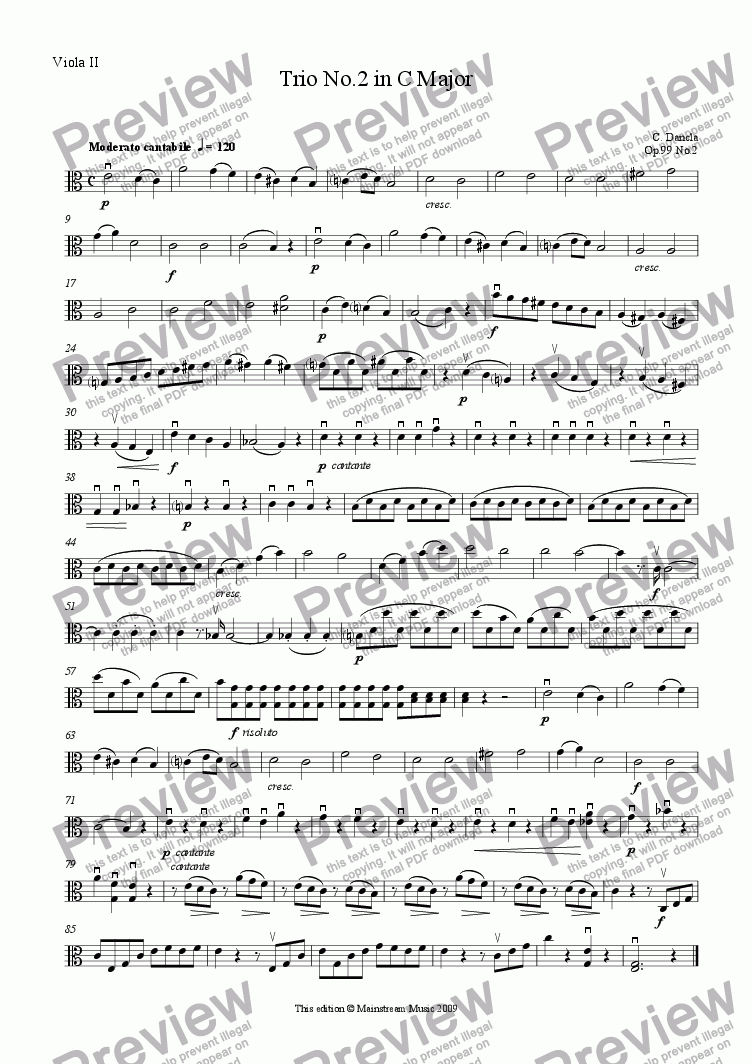 page one of the Viola II part from Trio No.2 in C Major - Viola