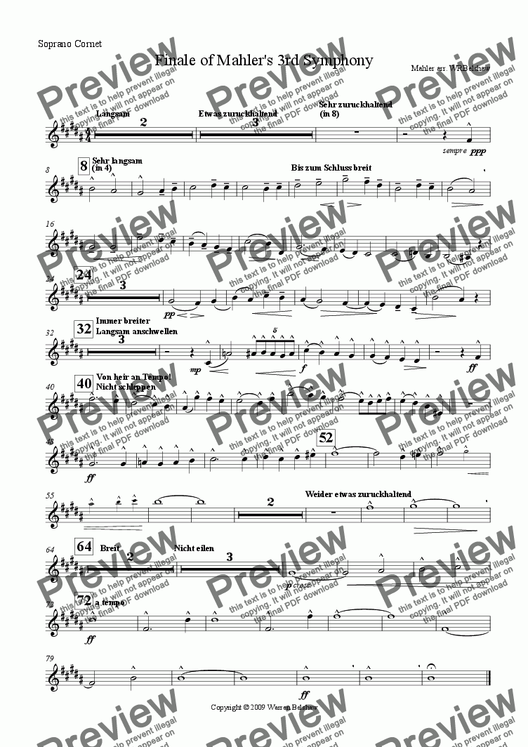 page one of the Soprano Cornet part from Finale from Mahler's 3rd Symphony (Brass Band)