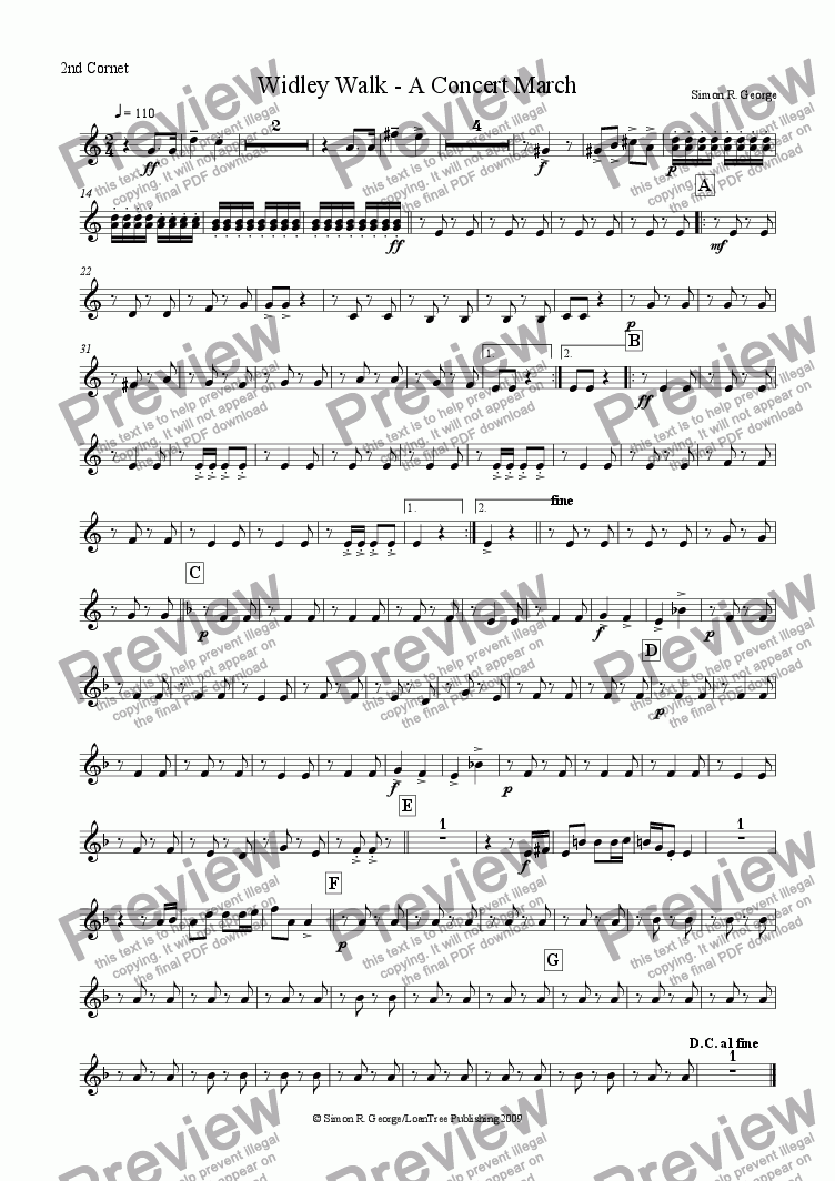 page one of the 2nd Cornet part from Widley Walk - A Concert March