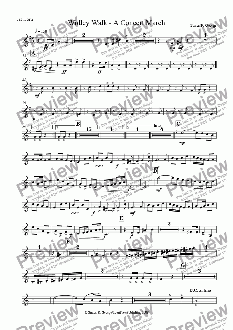 page one of the 1st Horn part from Widley Walk - A Concert March